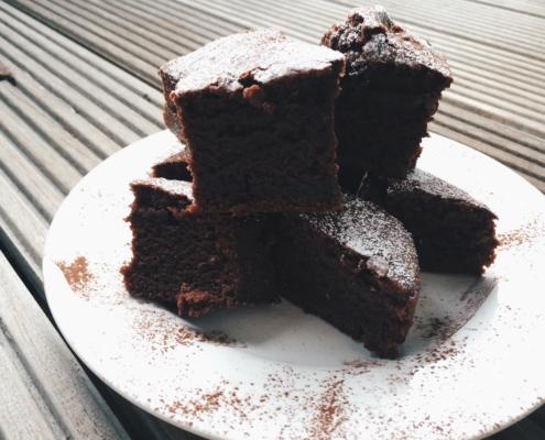 Veganer Himbeer-Brownie