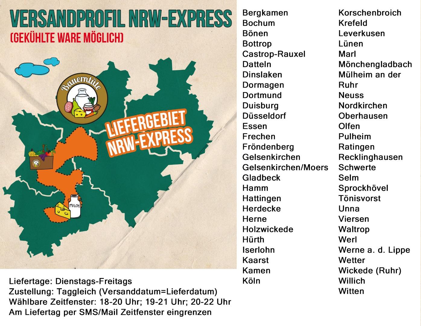 NRW Versandprofil Lebensmittel Online Lieferservice